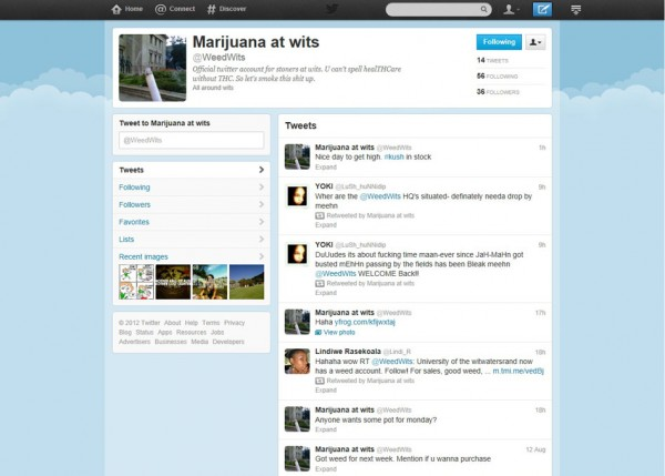 The home page of the @WeedWits account