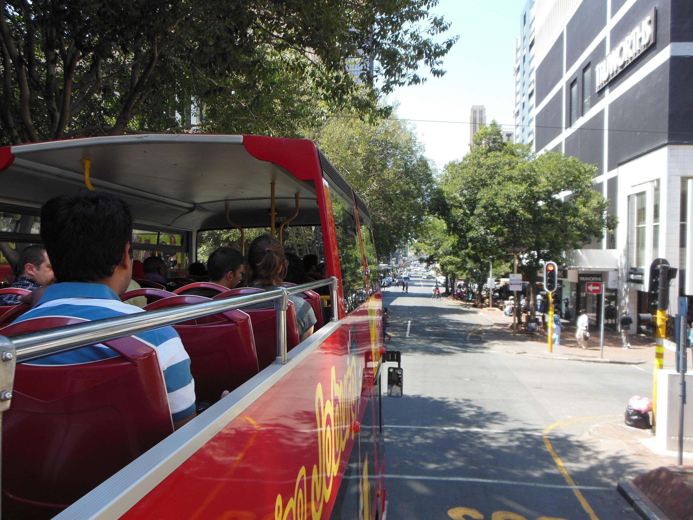 The bus makes its way through the narrow and busy streets. Pic: Anina Mumm