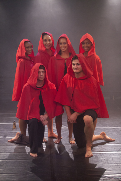 In the Company of Wolves Cast: Kirsten Mohamed,Raezeen Wentworth, Chanelle Sardinha and Linda Mdena (Left to Right Back) and Mark Tathum and Jason Solomon (Left to Right Front)