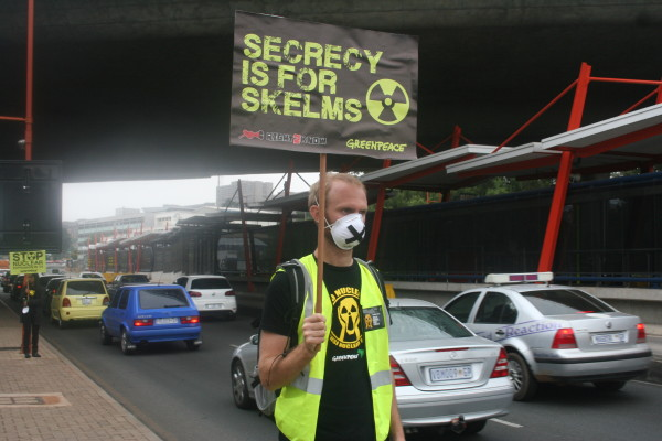 Toxic secrets: One of the activists standing firm  during the silent Protest on Empire road.
