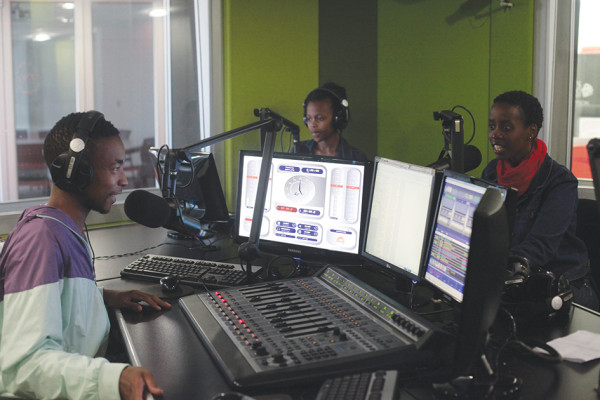 The afternoon drive show: MTN awards nominee Zweli Mbhele (left) with co-host Nkhensani Khosa (far right) interviewing guest Leigh-Ann Carey.