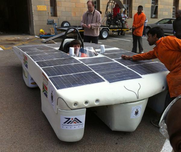 WITS SOLAR CAR: Bradley Rautenbach in the driving seat of last year's solar car.  Photo: Pheladi Sethusa