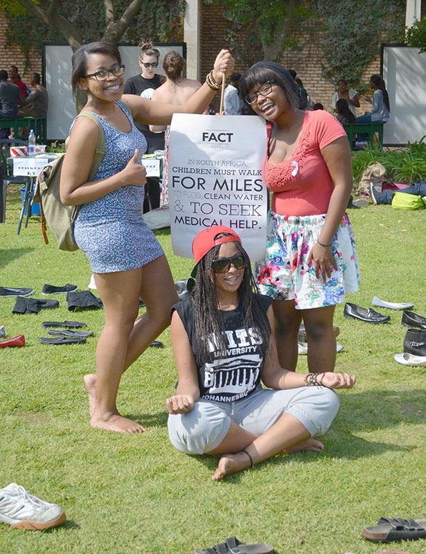BAREFOOT BEAUTIES: From left to right, Nelisa Ngcobo, 2nd year BA, Mungi Llale, $th year Dramatic Arts and Ziyanda Ngcobo, 3rd year BA