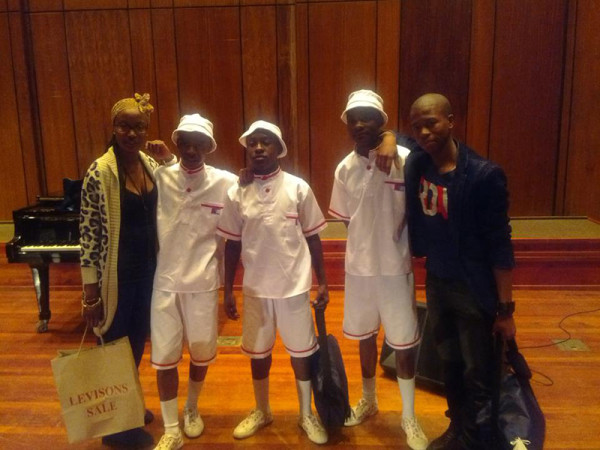 Winners of the talent show. From the left: Mokopi 3rd place, (poetry recital),1st place Wits movers(Dance).2nd place Wellem (Classical recital)
