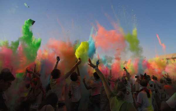RAINBOW OF COLOURS: What it looked like when we threw the colours at the end of a countdown. Photo: Pheladi Sethusa