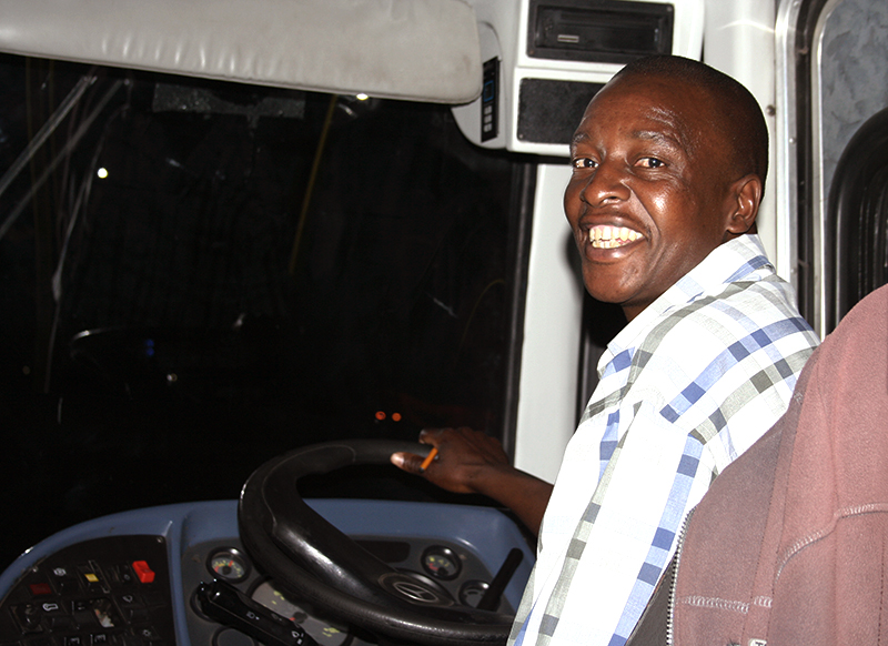 STEERING THE TEAM: Bus driver, Vincent Ntanganedzeni.