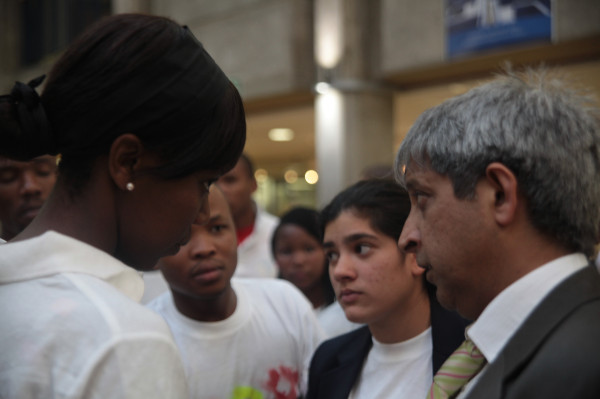 SRC members talk to Adam Habib about charges against them being dropped.