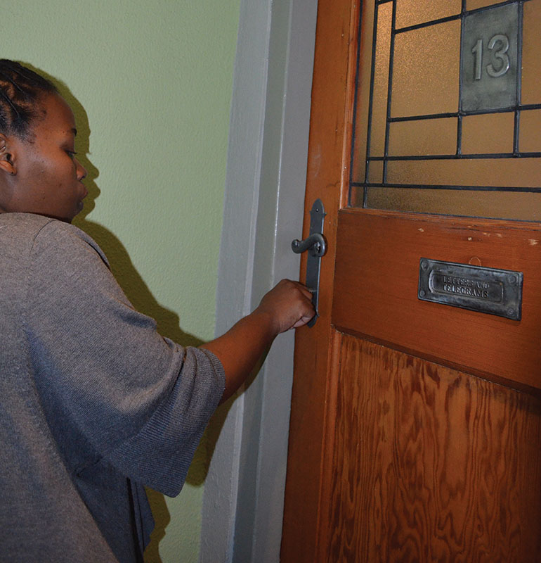 NO ENTRY: A Locked out student couldn't even fit her key in the keyhole. Photo: Pheladi Sethusa