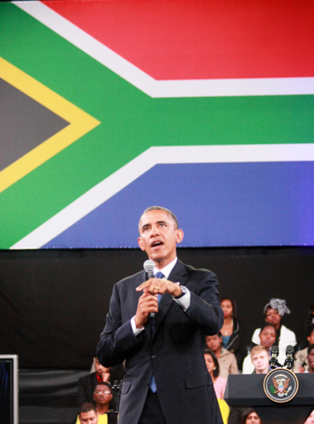 President Barack Obama addresses the gathering in Soweto on Saturday. Photo: Thuletho Zwane