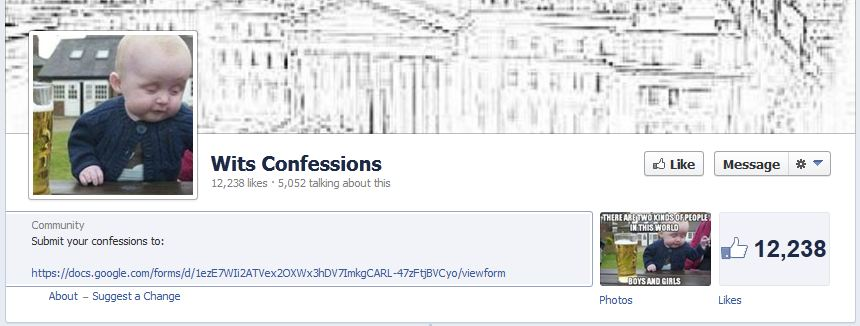 The Wits Confessions Page on Facebook has been liked over twelve thousand times. Graphic: Dean Falcke