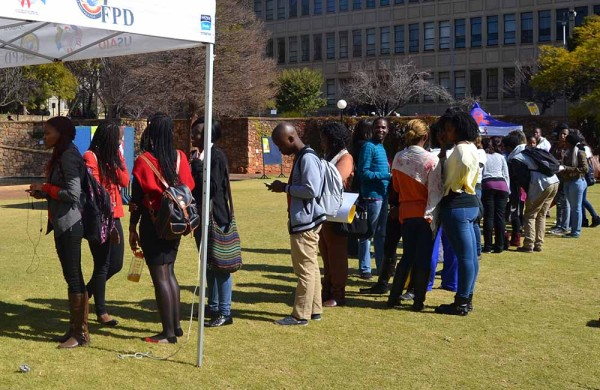 HIGH DEMAND: Students were in queues for more than 40 minutes Photo: Nokuthula Manyathi