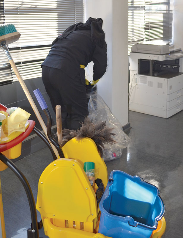 ON THE JOB: Business as usual for Wits cleaner. Photo: Pheladi Sethusa