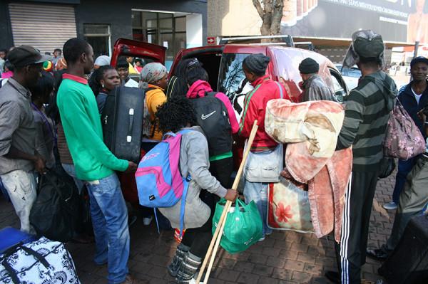Students transported to their alternative accomodation. Photo: Ray Mahlaka