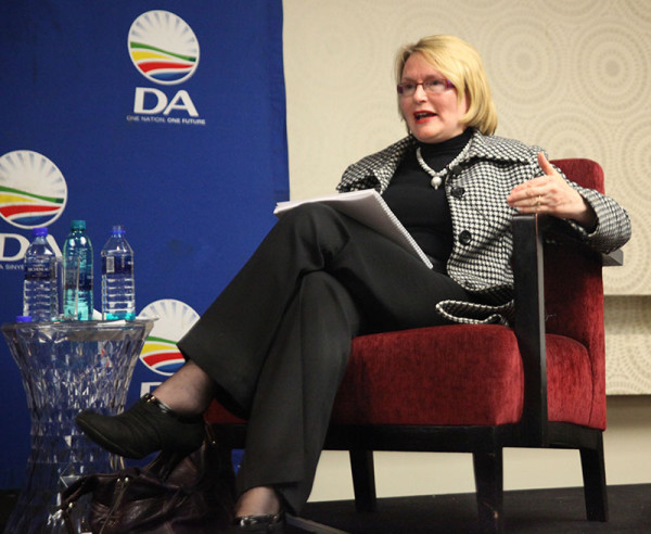 Helen Zille debates why SA is at a crossroads. Photo: Caro Malherbe