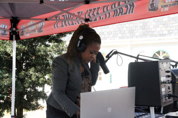 VoWfm set up a 'pop-up' studio to bradcast from outside the conference venue. Photo: Emelia Motsai