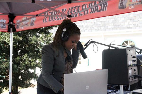 VoWfm set up a 'pop-up' studio to bradcast from outside the conference venue. Photo: Emelia Motsai