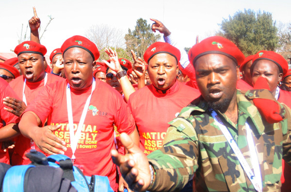 EFF founding members Julius Malema and businessman  Kenny Kunene march through the streets of Soweto. Photo: Thuletho Zwane