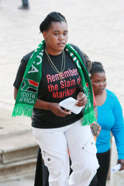 Supporters of the Marikana miners arrive for the lecture. Photo: Dinesh Balliah.