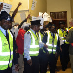 Campus Control on was on the scene to ensure that concert-goers were not disrupted by the protesters inside Senate House. Photo: Nokuthula Manyathi
