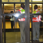 Campus Control kept a close eye on the entrance of the foyer of the Great Hall. Individuals were only allowed access if they had a concert ticket. Photo: Nokuthula Manyathi