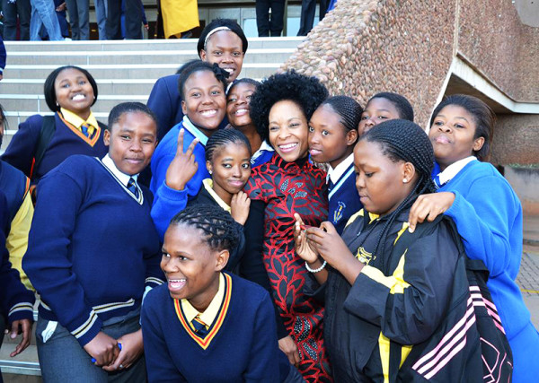 LEADING THE FUTURE: Professor Phakeng at Unisa with high school learners who will hopefully qualify to study at the institution next year.