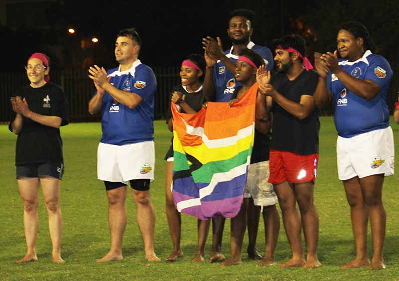 A GAY OLD TIME: The winning team, Wits All Stars, with members of the Wham! team clap at the end of the game to celebrate a game well played.                                                                                             Photo: Prelene Singh