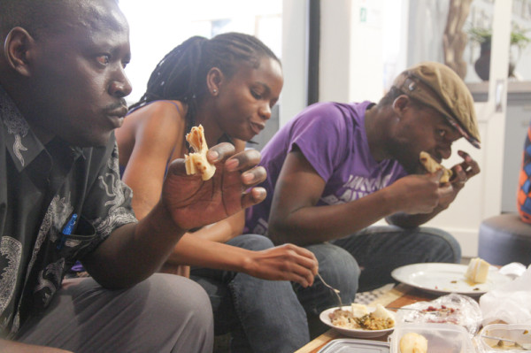 SO DELISH: Students at the Postgraduate Office joined in for a feast of traditional Kenyan food.                                                        Photo: Pheladi Sethusa