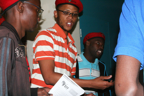 """NOT EFF'ing AROUND: Wits EFF chairperson Vuyani Pambo campaigning at Barnato Hall. He tells potential members """"we should not fear to exist from white people"""".  Photo: Thuletho Zwane"""