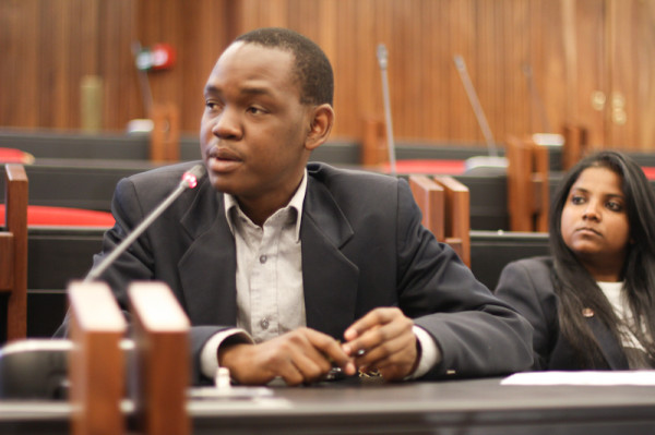 SRC President, Sibulele Mgudlwa answers a question from teh audience. Photo: Pheladi Sethusa