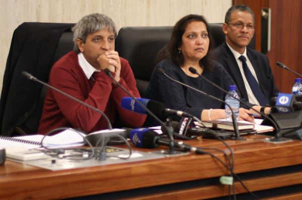 Vice Chancellor, Adam Habib and registrar  Kirti Menon deliberate questions from the media. Photo: Pheladi Sethusa