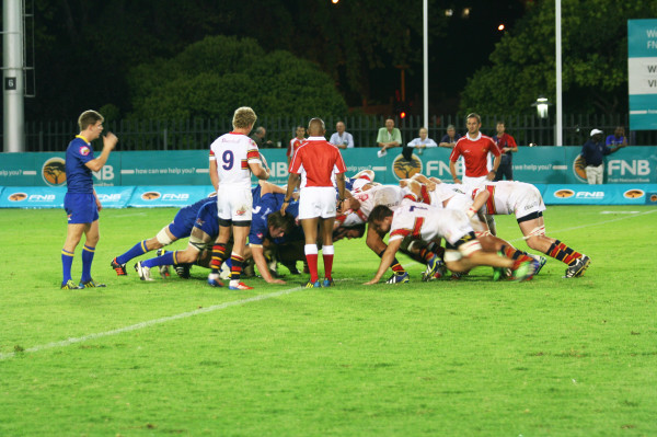 Wits and Tuks go head to head in a scrum. Photo: Caro Malherbe