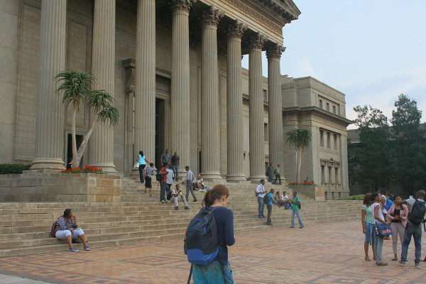 The iconic Great Hall pillars and steps on East Campus. Photo: Tendai Dube