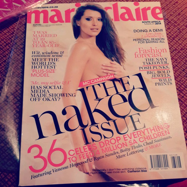This year Marie Claire's naked issue has caused a bit of a stir on social media and led to the issue flying off the stands in no time. Photo: Pheladi Sethusa