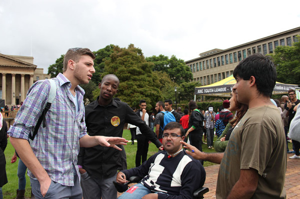 LISTEN TO ME: A South African Union of Jewish Students (SAUJS) and pro-Palestinian supporters and Wits Palestinian Solidarity Committee (PSC) members involved in a heated argument on the library lawns during IAW on Wednesday.