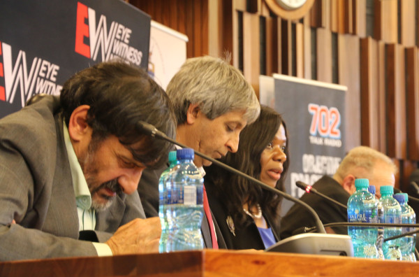 WITS NKANDLA PANEL: Professor Steven Friedman,  Vice Chancellor Adam Habib and Public Prosecutor Thuli Madonsela. Photo: Tendai Dube