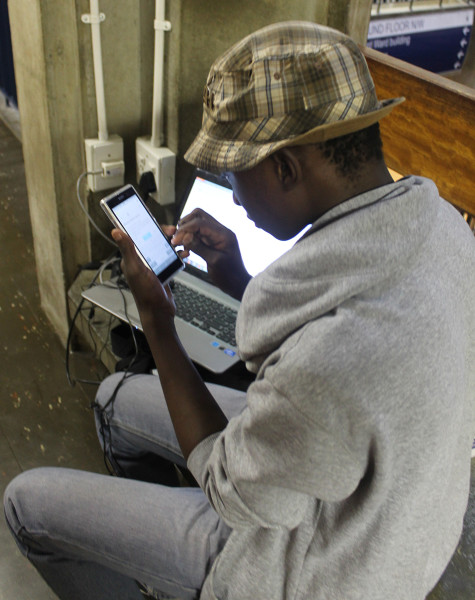 ITS A STRUGGLE: Kgothatso Mamabolo, 2nd year BSc struggles to secure his WiFi connection. Photo: Rofhiwa Madzena