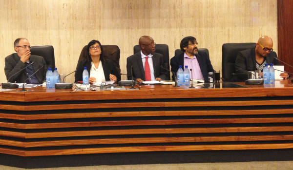 THE PANEL: Daryl Glaser, Katima Brown, Tawana Kupe, Stephen Friedman and Eusabius McKaiser held a debate on opposition parties in South African politics on Tuesday.