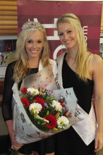 Miss Wits Varsity Cup 2014, Callie Shepherd at her crowning last month with Miss Joburg 2013, Anushka Kapp