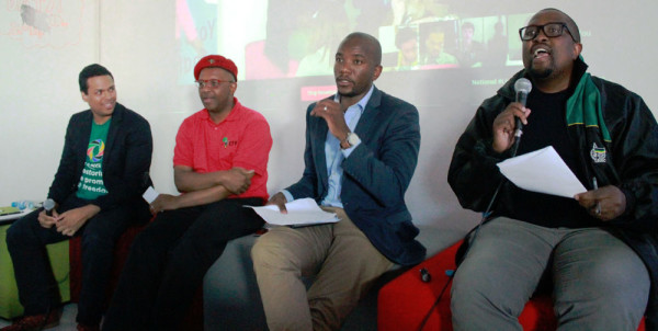 """SERIOUS TALK: Andrew Gasnolar (Agang), Dali Mpofu (EFF), Mmusi Maimane (DA) and Fikile Mbalula (ANC) (from left to right) answer questions at a youth debate that focused on the theme, """"Why do you deserve my vote?"""". Photo: Tracey Ruff"""