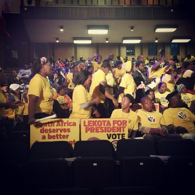 #COPE supporters at tonight's #WitsGreatDebate. #Shope-Mafole is representing the party this round.
