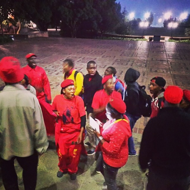 #EFF supporters getting vocal before the #Wits #GreatDebate starts tonight. #ANC vs #EFF vs #DA