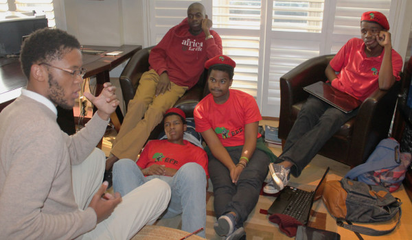 EFF members plan to occupy the VC's office until they are recognised as an official student society at Wits. Photo: Tracey Ruff