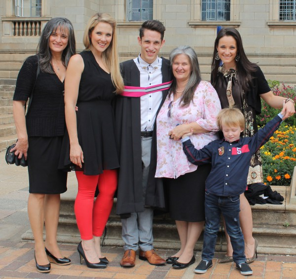 FAMILY MATTERS: Bachelor of Architectural Studies graduate, Michael Constantinides, with his family at graduation. From left: Constantinides' aunt, Annastella; oldest sister, Catherine; Mother, Georgina; sister, Elaine and Catherine's son.