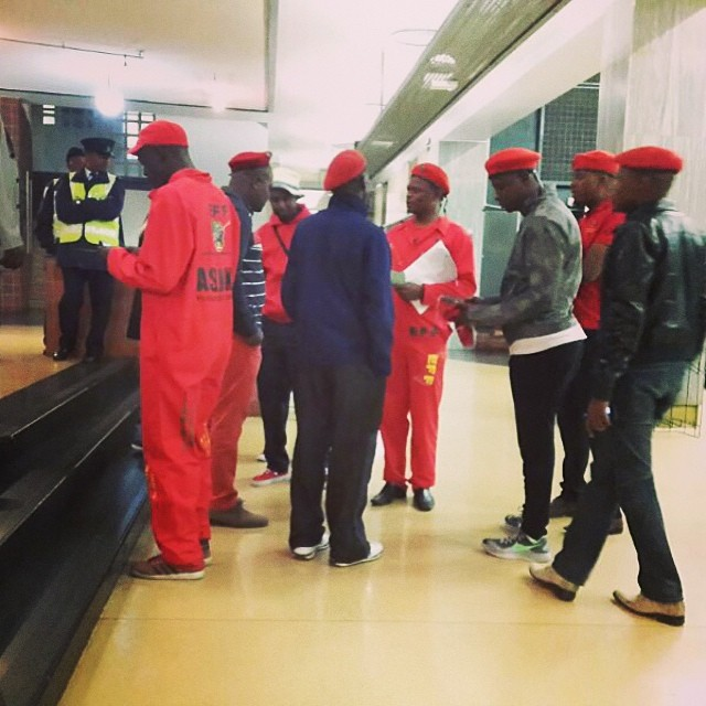 #EFF supporters arrived at the #wits #greathall in anticipation of the #Wits #GreatDebate tonight at 8pm.
