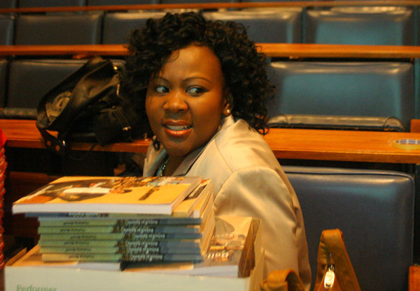 Thabang Molefi promotes her book 'Dollars to Soweto' to business minded Wits students. Photo: Anazi Zote
