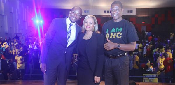 FRIENDLY ENEMIES:  Mmusi Maimane, Imaan Rappetti and Paul Mashatile pictured after a heated debate. Photo: Bongiwe Tutu
