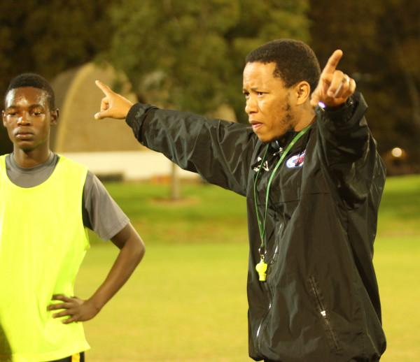 MOVING FORWARD: Wits University coach, Karabo Mogudi, puts his team through their paces before their USSA Gauteng league match against TUT.
