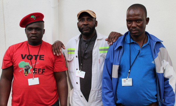 UNITED: Siwve Sopoha an EFF member from Marikana comes to Johannesburg in Support of his community members, Jonas Felling and Nathaniel Baase, who were both miners at Marikana. Photo: Luca Kotton