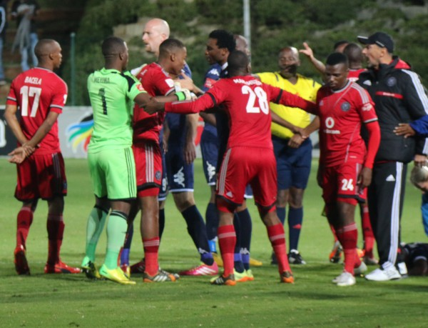 AGGRESSIVE AFAIR : Wits and Pirates players enter into a scuffle over a bad challenge on a Clever Boys player in the second half. Photo:Luca Kotton