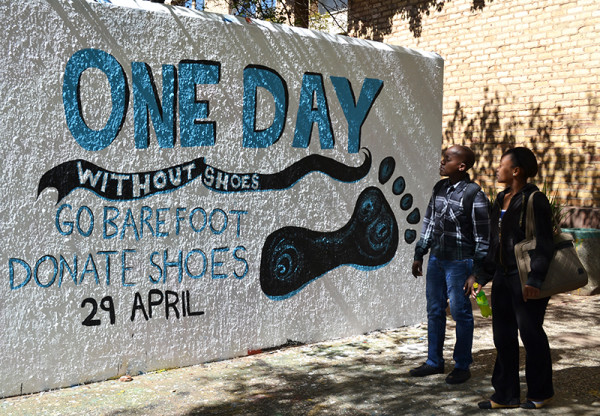 GO BAREFOOT:  One day Without Shoes will be held at the library lawns all day today. Photo: Lameez Omarjee